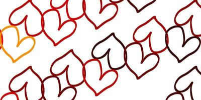hellorange Vektor Hintergrund mit süßen Herzen.