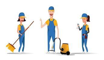Reinigungsdienstpersonal lächelnde Zeichentrickfiguren lokalisiert auf weißem Hintergrund. Männer und Frauen gekleidet in einheitlicher Vektorillustration in einem flachen Stil. niedliche und fröhliche Dienstmädchen und Hauswirtschaftskonzept. vektor