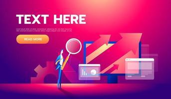Business-Analyse-Konzept-Banner mit Zeichen. kann für Web-Banner, Infografiken, Geschäftsbilder verwendet werden. flache isometrische Vektorillustration. vektor