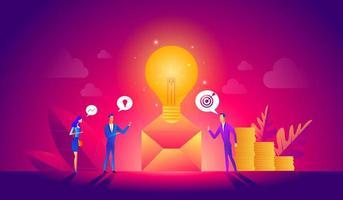 Vektorillustration, Online-Assistent bei der Arbeit. Manager bei Remote Work, auf der Suche nach neuen Ideenlösungen, Zusammenarbeit im Unternehmen. vektor