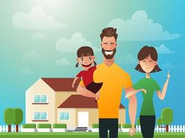 glückliche Familie im Hintergrund seines Hauses. Vater, Mutter und Tochter zusammen im Freien. Vektorillustrationen im flachen Stil vektor
