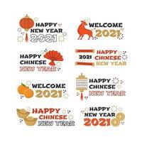 2021 chinesische Neujahrslabels vektor