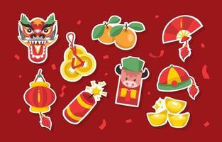 kinesiskt nyårsfestklistermärke