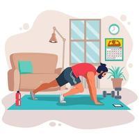 nyårsupplösning hälsosam livsstil med hemträning vektor