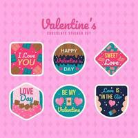 alla hjärtans choklad med text klistermärke set vektor