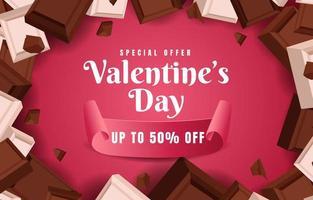 Schokoladenmotivhintergrund zum Valentinstag vektor