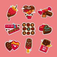 Schokoladenaufkleber zum Valentinstag vektor