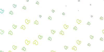 hellgrüner, gelber Vektorhintergrund mit Herzen.