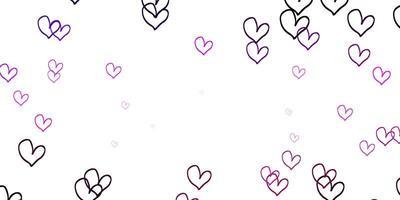 hellpurpurner, rosa Vektorhintergrund mit leuchtenden Herzen.