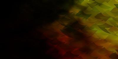 dunkelroter, gelber Vektorhintergrund mit Dreiecken, Würfeln.