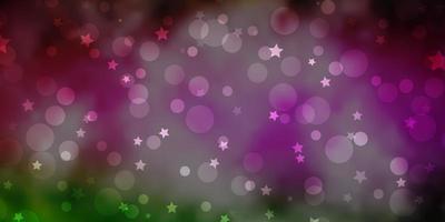 hellrosa, grüner Vektorhintergrund mit Kreisen, Sternen.