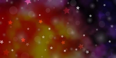 hellrosa, gelber Vektorhintergrund mit Kreisen, Sternen.