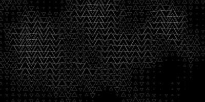 mörkgrå vektormönster med linjer, trianglar.