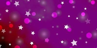 mörk lila, rosa vektor bakgrund med cirklar, stjärnor.