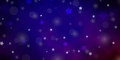 dunkelblauer, roter Vektorhintergrund mit Kreisen, Sternen.