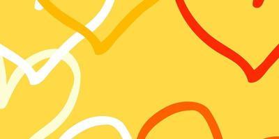 ljus orange vektor bakgrund med glänsande hjärtan.