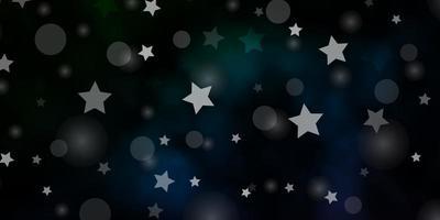 dunkelblauer, grüner Vektorhintergrund mit Kreisen, Sternen.