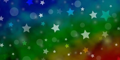 mörk flerfärgad vektormall med cirklar, stjärnor.