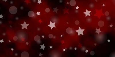 dunkelrotes Vektorlayout mit Kreisen, Sternen.