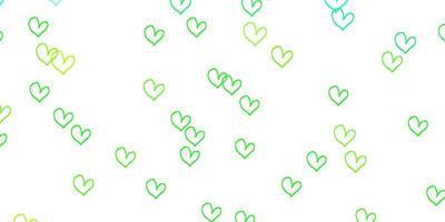 hellgrüner, gelber Vektorhintergrund mit leuchtenden Herzen.