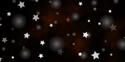 dunkelgelbes Vektorlayout mit Kreisen, Sternen.