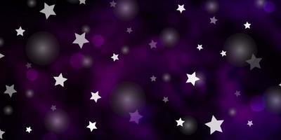 mörk lila vektor mönster med cirklar, stjärnor.