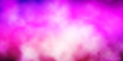 dunkelviolettes, rosa Vektorlayout mit Wolkenlandschaft.