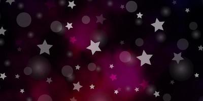 dunkelviolettes Vektorlayout mit Kreisen, Sternen.