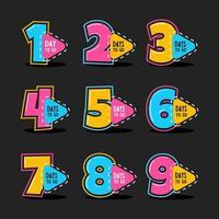 Countdown Farbige Nummer Symbol gesetzt vektor