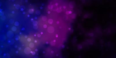 dunkelrosa, blaues Vektormuster mit Kreisen, Sternen.