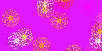natürliches Layout des hellrosa, gelben Vektors mit Blumen.