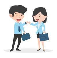 affärsman och affärskvinna som gör ett pinky löfte vektor
