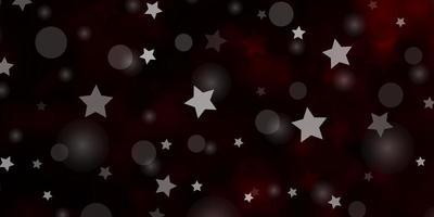 dunkelroter Vektorhintergrund mit Kreisen, Sternen.