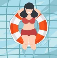 söt kvinna som flyter i poolen vektor