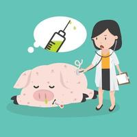 sjuk gris som behöver svininfluensavaccin vektor