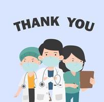 tackmeddelande till läkare och sjuksköterska med ansiktsmasker vektor