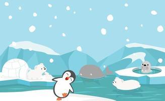 Nordpol Tiere Vektor Hintergrund