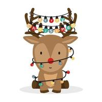 niedliches Cartoon-Rentier mit Weihnachtslichtern vektor