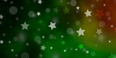 dunkelgrüne, rote Vektorschablone mit Kreisen, Sternen.