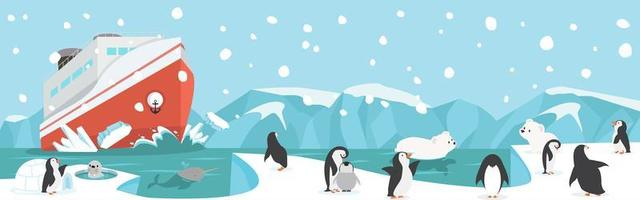 Nordpol oder arktischer Winter mit Cuteanimals Landschaftshintergrund vektor