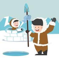 eskimo fiske tillsammans vektor
