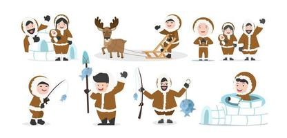 süße Eskimo Menschen Familie Set