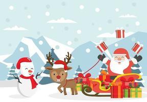 Weihnachtsfeier mit Weihnachtsmann auf einem Schlitten im Nordpol vektor