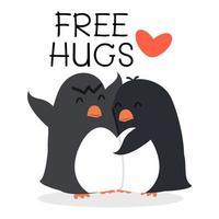 söta pingviner med gratis krammeddelande vektor