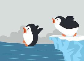 söta pingviner som hoppar på havet vektor