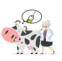 kranke Kuh kurz vor der Impfung durch einen Tierarzt vektor