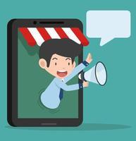 Geschäftsmann spricht über das Megaphon, Online-Shop-Konzept
