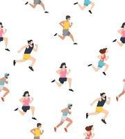 nahtloser Musterhintergrund mit laufenden Leuten