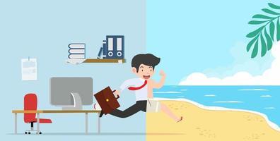 Geschäftsmann läuft aus dem Büro zum Strandurlaub