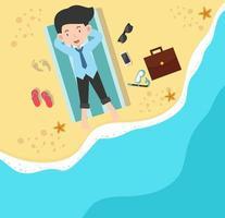 glad affärsman på stranden vektor